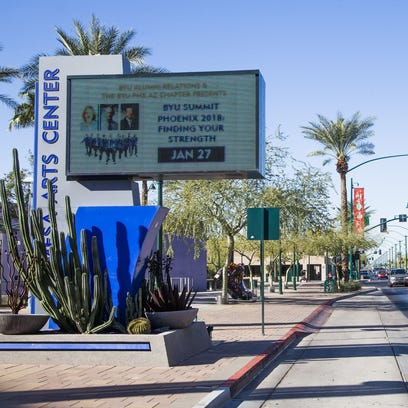 Downtown Mesa, with the Mesa Arts Center and shops