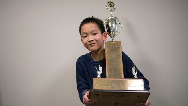 The 81st North Jersey Spelling Bee at Bergen Community College on Thursday, March 15, 2018. Tai Nakamura, a sixth grade student at Patrick M Villano School in Emerson, after winning the 81st North Jersey Spelling Bee.