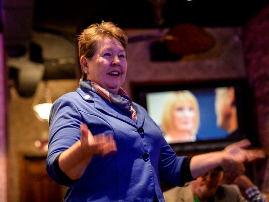 Democratic Lebanon County Commissioner incumbent Jo Ellen Litz gives a victory speech at the Downtown Lounge as the 2015 general election took place on Tuesday, November 3, 2015  2015.