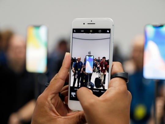 The new iPhone 8 Plus is displayed in the showroom