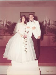 Roger and Bobbie Wright are pictured on their wedding
