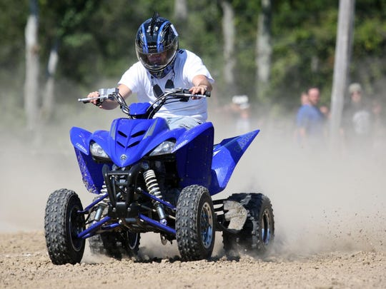 Chris Ennis of Pocomoke competes in the drag race competition during the ATV Jamboree at the Pocomoke Fairgrounds, Saturday morning.
