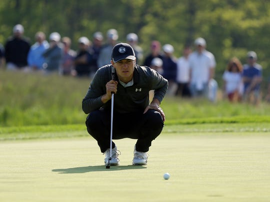 Jordan Spieth lines up his putt on the 12th green during the second round of the PGA Championship.