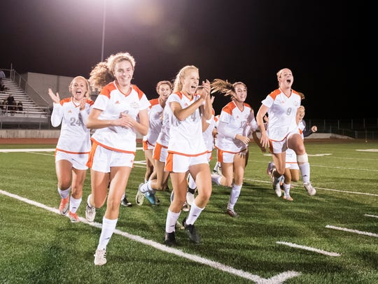Central York players react after defeating Northeastern