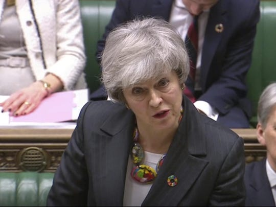 In this image taken from video, Britain's Prime Minister Theresa May gives a statement about progress on Brexit talks to members of parliament in the the House of Commons, London, Feb. 12, 2019.