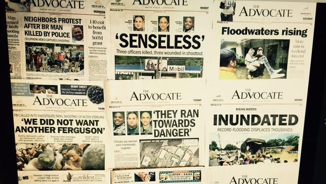 The front pages of the Baton Rouge Advocate tell the story of turmoil in the area this summer.