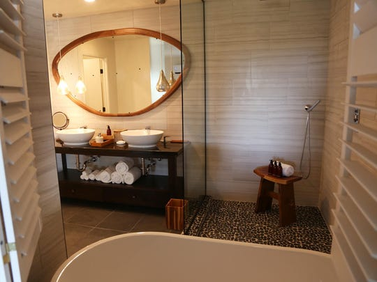 New bathroom in one of the renovated suites at Two Bunch Palms resort in Desert Hot Springs. Part of a remodel and plan to go solar.