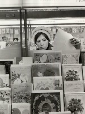 Valentine's Day cards helped to popularize the holiday. In 1971, Julie Crouch shops to pick out the perfect sentiment.