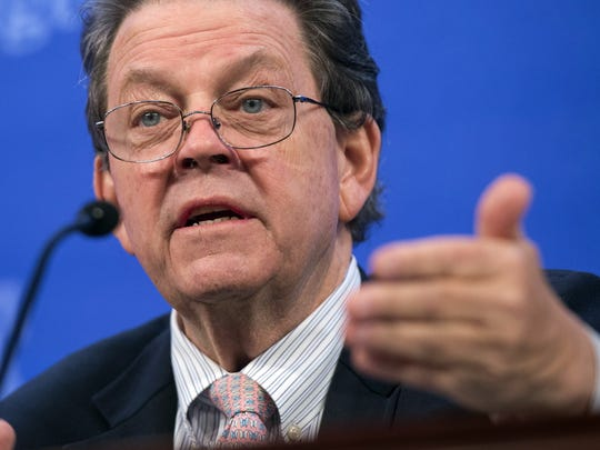 Economist Arthur Laffer speaks about the economy during a panel discussion at  the Heritage Foundation in December 2014 in Washington, D.C.