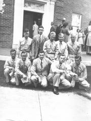 Pictured on the right during WWII Capitol Heights Baptist Church created a Sunday School Class for soldiers stationed in Montgomery. Taken on September 24, 1944, this photograph shows from left to right (kneeling), David Bryant (Alabama), Louis Dobson (Florida), C.H. Ward (teacher), Glynn Hill (Tennessee), Joe Hoover (Kentucky); (standing) Marvin Burley (South Carolina), Jack Blue (Alabama), Paul Hamrick (North Carolina), Bill Lankford (South Carolina), Maury Perry (Mississippi). (Courtesy Capitol Heights Baptist Church)