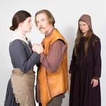 "Shannon Hoppe, left, as Elizabeth Proctor, Ross Bolen as John Proctor, Brian Webb Russell as Deputy Governor Thomas Danforth and Emily Meinerding as Abigail Williams in ""The Crucible."""
