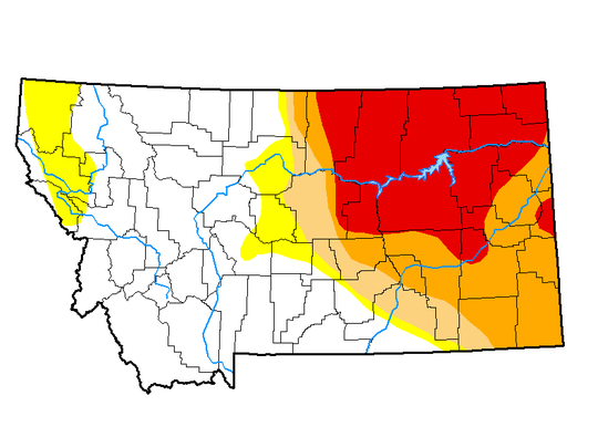 U.S. Drought Monitor map showing extent of drought conditions across Montana