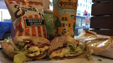 An Italian sandwich with chips and a cookie at Potbelly in downtown Des Moines.