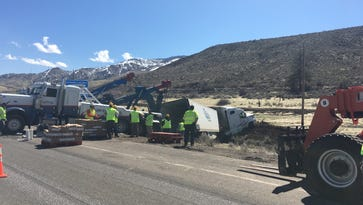 A semi drove off of eastbound Interstate 80 early Thursday morning.
