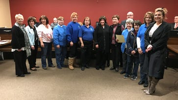 Pompton Lakes celebrated the 75th anniversary of the Pompton Lakes Woman's Club at Borough Hall. Mayor Michael Serra is pictured with members.