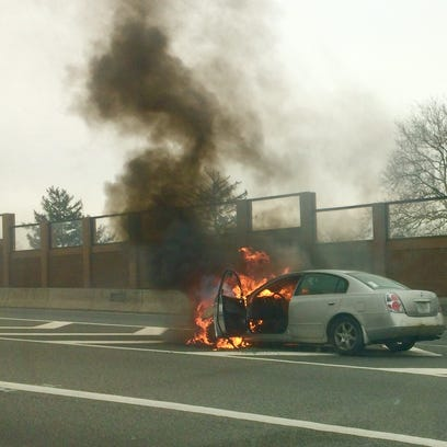 A car caught fire Monday afternoon on Route 3 in Clifton,