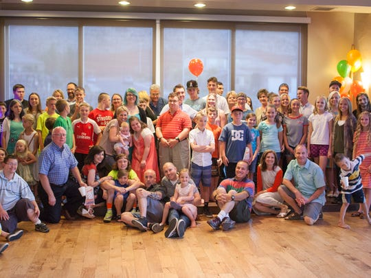 Friends and family gather at the Falls Event Center