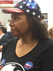 Denise Wills of Pennsauken waits for election results at Camden County Democratic headquarters in Cherry Hill on Tuesday night.