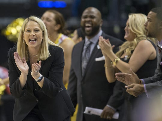 Brenda Frese, Head Coach of Maryland, smiles near the end of action against Michigan State, Big Ten Women's Basketball Final, Bankers Life Field House, Indianapolis, Sunday, March 6, 2016. Maryland pulled ahead in the second half 60-44.