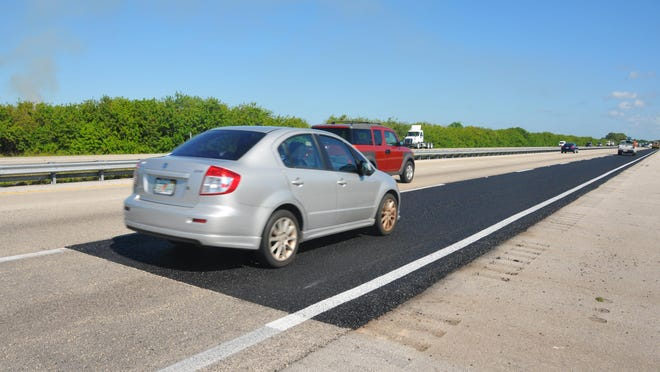 A patch of pavement by mile marker 194 in the northbound lane of I-95 was a traffic striping test site since last October. Last week, the Florida Department of Transportation removed the stripes and laid down new pavement.