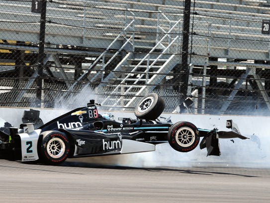 Josef Newgarden crashes during practice at the Indianapolis