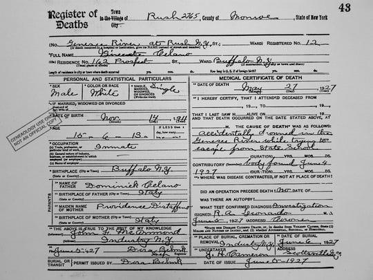 The death certificate for Vincent Celano, one of the 14 boys buried in the graveyard. Scroll to Chapter 4 for short bios and links to each boy's death certificate.