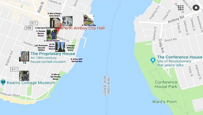 A walking guide to 13 of Perth Amboy's Colonial and Revolutionary War historic sites, nearly half of which are on the National Register of Historic Places.