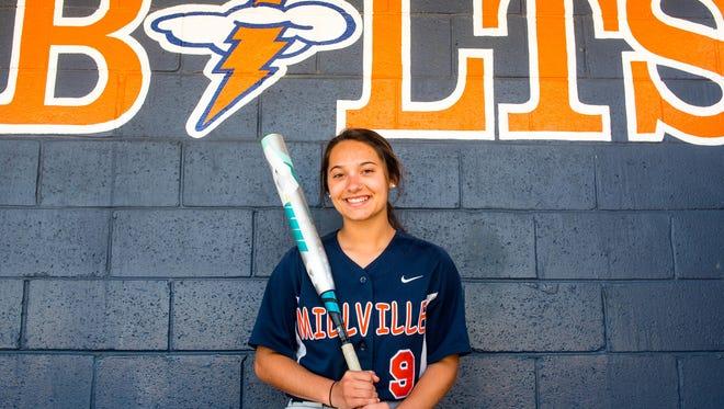 Millville softball's Kimberly Musarra at the Millville softball field on Wednesday, May 10.