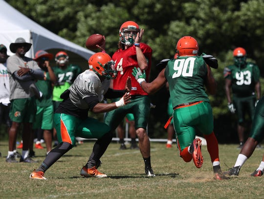 The FAMU football team practices on the university's