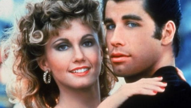 John Travolta and Olivia Newton John in a scene from the film 'Grease.'