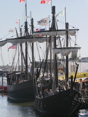 The Nina and the Pinta, replicas of Columbus' ships, can be seen here docked at Tin City in Naples. The ships wil be traveling to Fort Myers where they will be docked at the Ft. Myers Yacht Basin and open to the public Wednesday March 20 until they depart Thursday morning March 28.