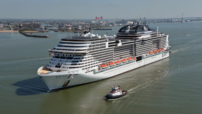 MSC Cruises' 171,598-ton MSC Meraviglia sails from the STX France shipyard in Saint-Nazaire, France in May 2017.