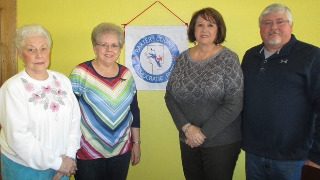 The Baxter County Democratic Club Officers for 2017 were installed at the January meeting. Shown are Treasurer Wana Thacker, from left, Secretary Glenda Bodenhamer, Second Vice Chairman Cheryl Munson-Beall and Chairman Kevin Bodenhamer. Not present was First Vice Chairman Joe Bodenhamer. The Democratic Club meets the fourth Saturday of each month at 9 a.m. at the Cookhouse Restaurant.