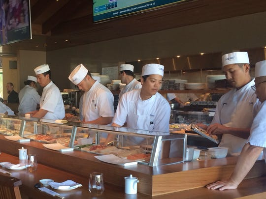 Sushi chefs at Nobu located at the Indian Wells Tennis Garden.