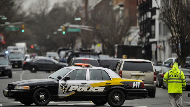 Police on the scene of a standoff at Panera Bread on Nassau Street in Princeton on Tuesday, March 20.