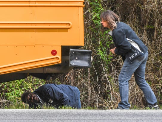 Two school buses bumped on State Highway 187 at Boscobel