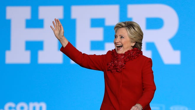Democratic presidential nominee Hillary Clinton arrives Oct. 31, 2016, for a campaign stop in downtown Cincinnati.