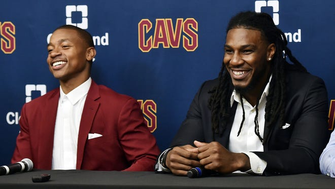 New Cleveland Cavaliers players Isaiah Thomas (left) and Jae Crowder talk to the media during a press conference at Cleveland Clinics Courts.