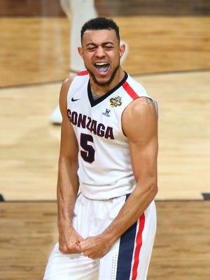 Gonzaga Bulldogs guard Nigel Williams-Goss (5) reacts during the second half against the South Carolina Gamecocks in the semifinals of the 2017 NCAA Men's Final Four at University of Phoenix Stadium.