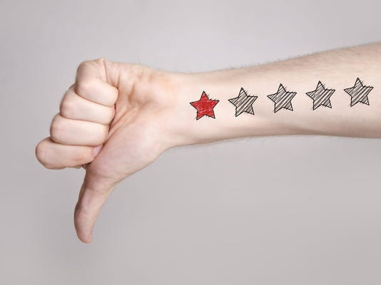 Unsatisfied custmer, thumb down, one star rating
