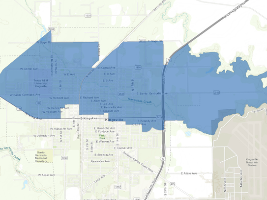 The blue shaded areas represent parts of Kingsville
