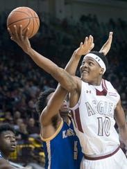 New Mexico State's Jemerrio Jones makes a move to the