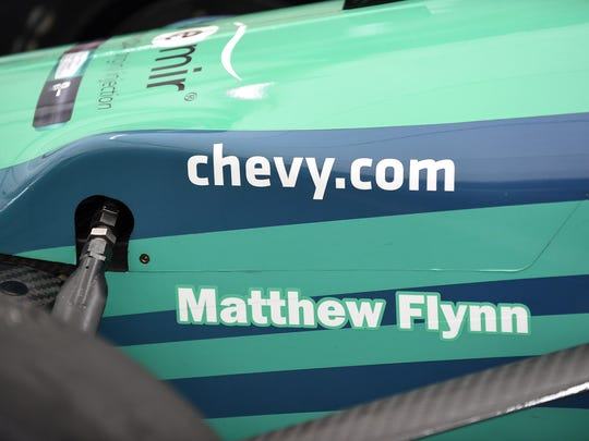 The No. 83 car driven by Charlie Kimball has the name of Matthew Flynn on the side at the 2015 Chevrolet Detroit Grand Prix.