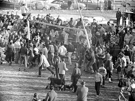Goalposts torn down after 1959 Vineland vs. Millville