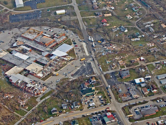 Henryville, including the high school at left, which