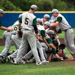 Vestal pitcher Mike Kosty is mobbed by his teammates after the Golden Bears defeated Corning, 8-3 to win the STAC title on Saturday.