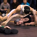 Maine-Endwell's Kobe Garrehy pins Windsor's Mike Wilmot in the 152-pound championship match of the Section 4 Class B Tournament on Saturday at Windsor. Garrehy, who earned his 200th varsity victory with the win, is coached by his father, Fred.