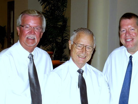 Easter quartet, from left, John Hengeveld, Harvey Kruithof, Dick Bell, John Stein on piano and Alan Sandlin.