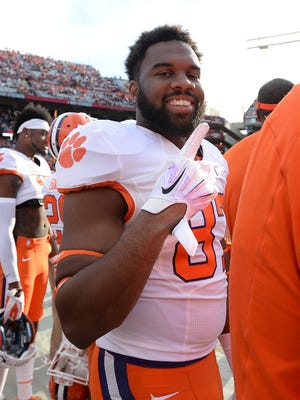 Clemson tight end D.J. Greenlee (87), shown in a file photo during a game in Columbia, is among football players who graduated this week.