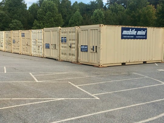 These shipping containers in Biltmore Park across from
